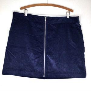 Gap Navy Blue Corduroy Mini Skirt Zipper Front 20